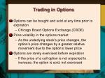 trading in options