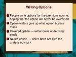 writing options