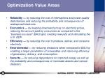 optimization value areas
