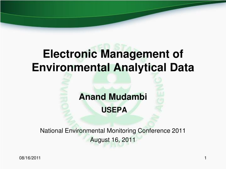 electronic management of environmental analytical data n.