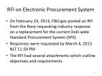rfi on electronic procurement system