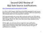 second gao review of 8 a sole source justifications