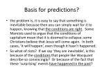 basis for predictions
