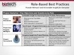 role based best practices provide relevant and actionable insight for everyone