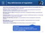 key deficiencies of regulation