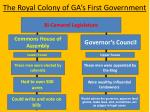 the royal colony of ga s first government