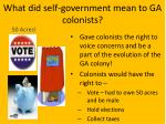 what did self government mean to ga colonists