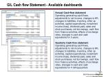 g l cash flow statement available dashboards