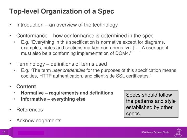 Top-level Organization of a Spec
