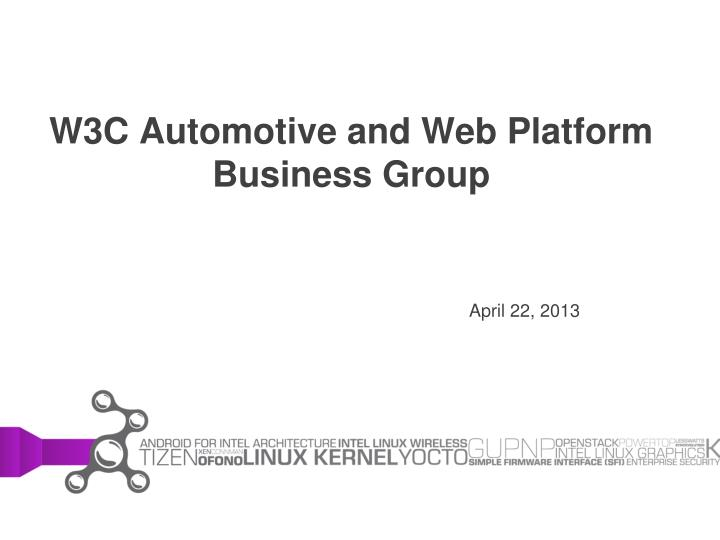 w3c automotive and web platform business group n.