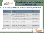 downloading and installation of android sdk