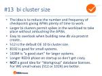 13 bi cluster size