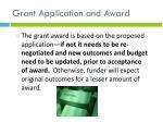 grant application and award