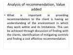 analysis of recommendation value added3