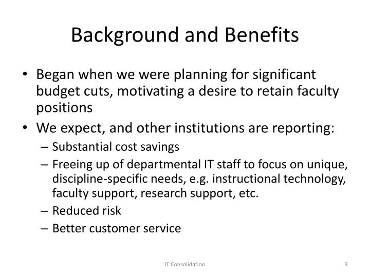 Background and benefits
