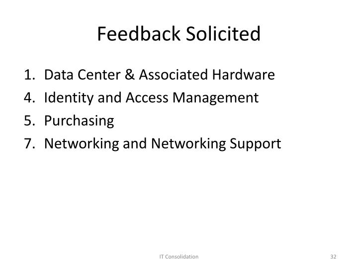 Feedback Solicited