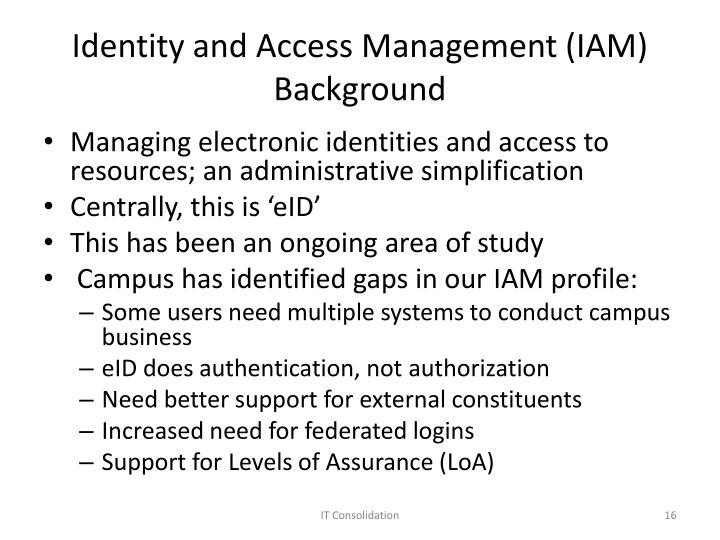 Identity and Access Management (IAM) Background