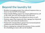 beyond the laundry list