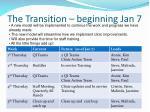 the transition beginning jan 7
