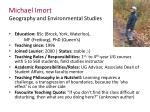michael imort geography and environmental studies