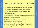 lesso n objectives and outcomes
