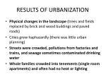 results of urbanization