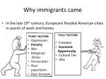 why immigrants came