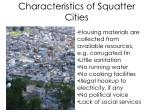 characteristics of squatter cities