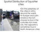 spatial distribution of squatter cities