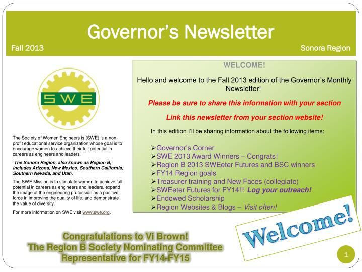 governor s newsletter fall 2013 sonora region n.
