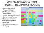 staff pain resulted from process personality structure