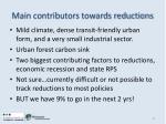 main contributors towards reductions