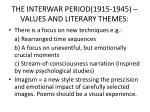 the interwar period 1915 1945 values and literary themes