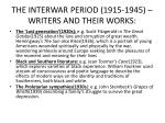 the interwar period 1915 1945 writers and their works
