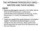 the interwar period 1915 1945 writers and their works1