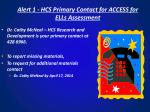 alert 1 hcs primary contact for access for ells assessment