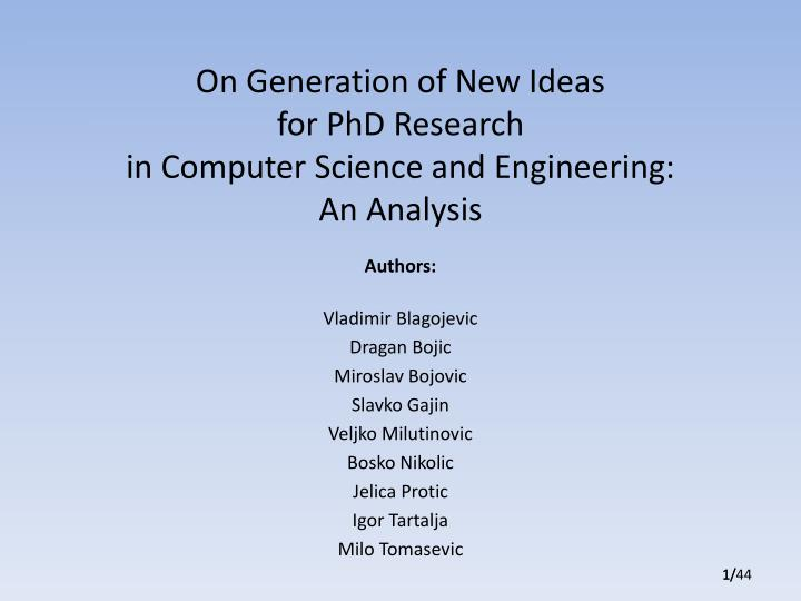 on generation of new ideas for phd research in computer science and engineering an analysis n.