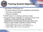 training summit objectives