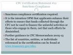 cfc certification statement 12 sanctions compliance