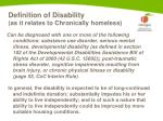 definition of disability as it relates to chronically homeless