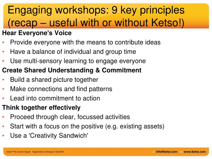 Engaging workshops: 9 key principles (recap – useful with or without Ketso!)