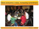 gives everyone a voice increasing commitment