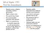 bill of rights 1791 first ten amendments