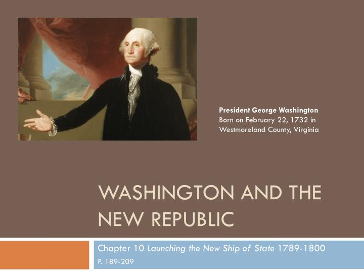 washington and the new republic n.