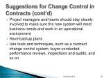 suggestions for change control in contracts cont d