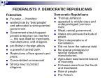 federalists v democratic republicans