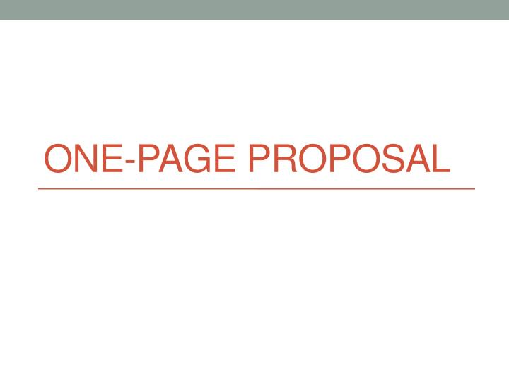 one page proposal n.