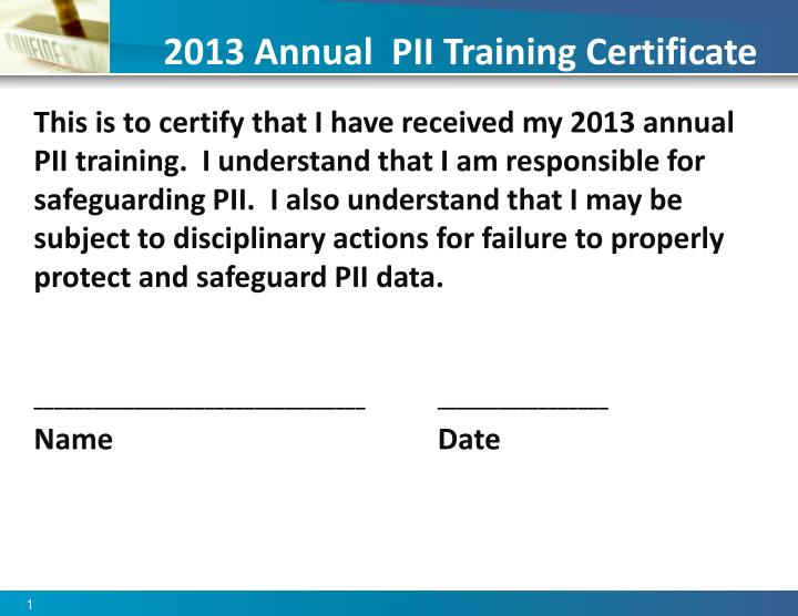 2013 annual pii training certificate n.