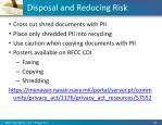 disposal and reducing risk