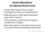 grant allocations for special grant fund